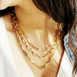 Jewelry - Modern Matte Gold Paperclip Chain Necklaces NEW